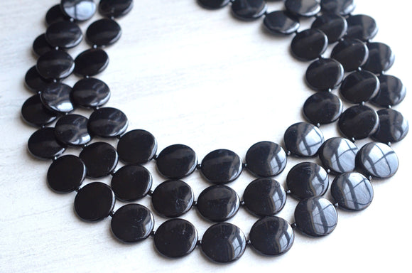 Black Statement Necklace Lucite Beaded Necklace Chunky Multi Strand Necklace Gifts For Her - Charlotte