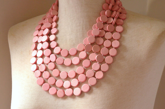 Pink Statement Necklace, Wood Bead Necklace, Chunky Necklace, Multi Strand, Bridesmaid Gift - Charlotte