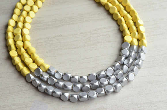 Yellow Silver Statement Necklace Beaded Wood Necklace Bridesmaid Gifts - Lisa