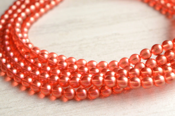 Coral Statement Necklace, Pink Bead Necklace, Bridesmaid Necklace, Chunky Necklace, Gift For Woman - Michelle