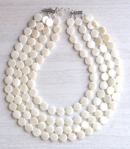 Ivory Statement Necklace Lucite Beaded Necklace Gifts For Her - Charlotte