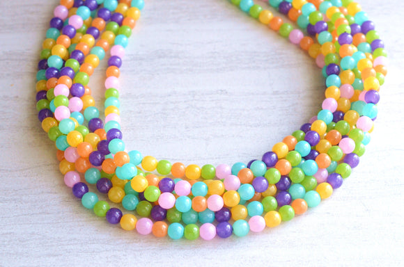 Multi Color Statement Necklace Pastel Beaded Necklace Gifts For Women - Michelle
