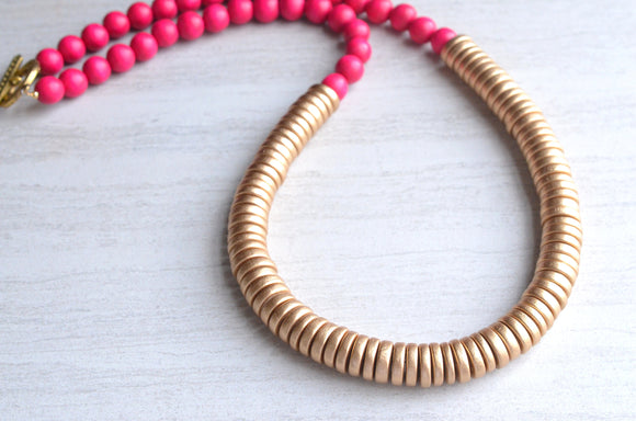 Pink Gold Statement Necklace Wood Bead Necklace Long Beaded Necklace Gifts For Her - Elena