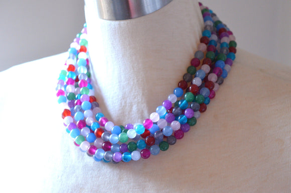 Multi Color Statement Necklace Jade Beaded Necklace Chunky Colorful Necklace Gift For Her - Michelle