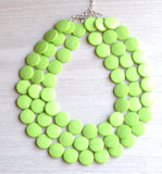 Lime Green Statement Necklace Lucite Beaded Necklace Gifts For Women - Charlotte