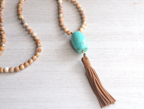 Blue Tassel Necklace Brown Statement Necklace Long Boho Necklace - Emerson