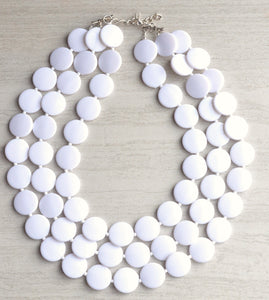 White Statement Necklace Beaded Lucite Necklace Bridesmaid Gift - Charlotte