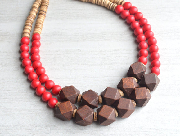 Red Statement Necklace Beaded Wood Necklace Chunky Multi Strand Necklace Gifts For Women - Riley
