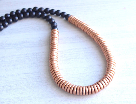 Copper Black Statement Necklace Long Beaded Wood Necklace Gifts For Women - Elena