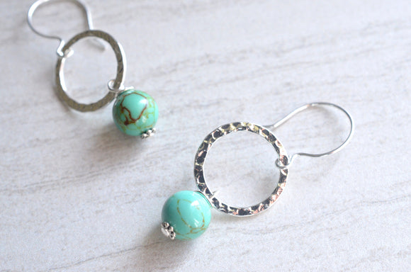 Turquoise Statement Earrings Silver Beaded Earrings Bridesmaid Gifts - Andie