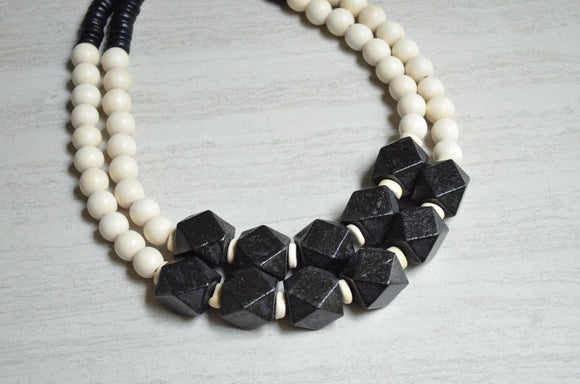 Black White Statement Necklace Wood Beaded Necklace Chunky Multi Strand Necklace Boho Jewelry - Riley