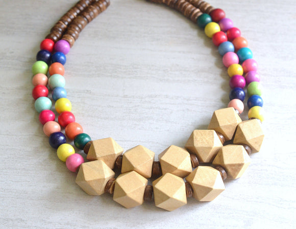 Multi Color Statement Necklace Beaded Wood Necklace Chunky Multi Strand Necklace Gifts For Her - Riley