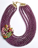 Parrot Statement Necklace Purple Brooch Beaded Necklace Chunky Multi Strand Necklace Tropical Jewelry - Bahia