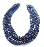 Navy Blue Statement Necklace Beaded Glass Necklace Chunky Multi Strand Necklace Gift For Woman - Michelle