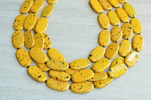 Yellow Black Statement Necklace Acrylic Beaded Necklace Chunky Multi Strand Necklace Gifts For Women - Miranda