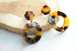 Tortoise Shell Statement Earrings Lucite Big Earrings Gifts For Her - Tortuga