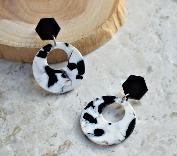 Black White Statement Earrings Lucite Earrings Marble Earrings Bold Earrings Acrylic Earrings - Grace