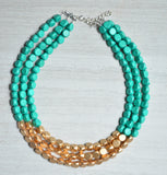 Green Gold Statement Necklace Beaded Wood Necklace Gifts For Her - Lisa
