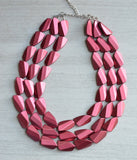 Red Statement Necklace,  Acrylic Necklace, Bead Necklace, Chunky Necklace, Gift For Her - Farrah