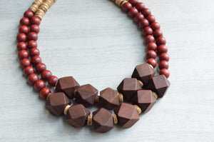 Brown Statement Necklace Beaded Wood Necklace Chunky Multi Strand Necklace Boho Jewelry - Riley