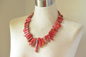 Red Statement Necklace Jasper Beaded Chunky Necklace - Times Square