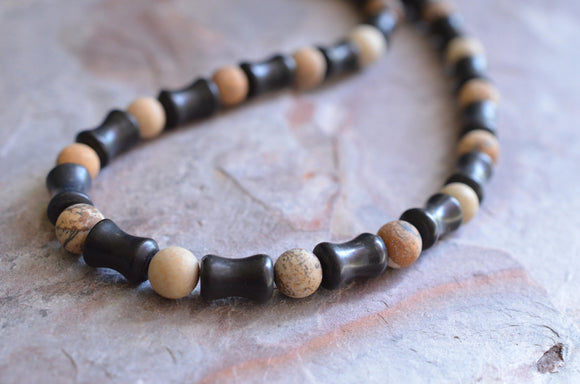 Beaded Mens Necklace, Surfer Necklace, Stone Necklace, Man Jewelry, Gift For Him - Phoenix