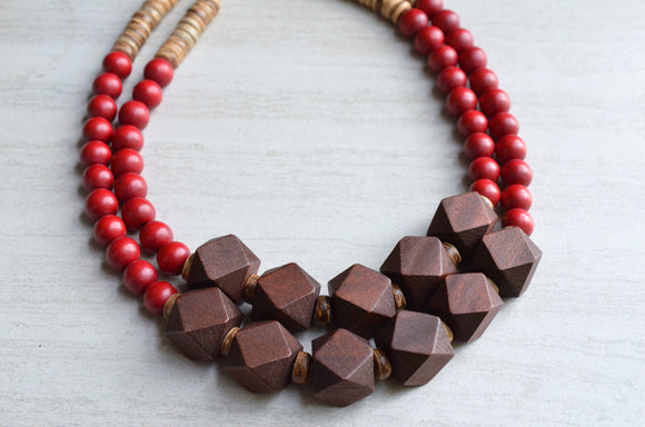 Red Brown Statement Necklace Beaded Wood Necklace Chunky Multi Strand Necklace Gift For Her - Riley