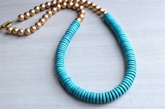 Blue Statement Necklace, Gold Bead Necklace, Long Wood Necklace, Chunky Necklace, Gift For Her - Elena