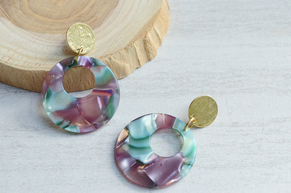 Teal Statement Earrings, Purple Lucite Earrings, Terrazzo Earrings, Big Hoop Earrings, Gift For Her- Grace