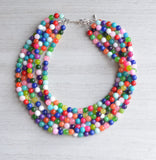 Multi Color Statement Necklace Beaded Jade Necklace Chunky Multi Strand Necklace Gift For Woman - Michelle