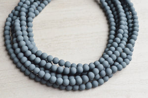 Gray Statement Necklace, Bead Necklace, Chunky Necklace, Matte Necklace, Gift For Women - Michelle