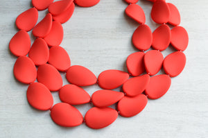 Red Matte Statement Necklace Rubber Beaded Necklace Acrylic Chunky Necklace Gifts For Her - Morgan 2