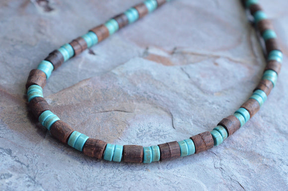Wood Mens Necklace, Surfer Necklace, Turquoise Necklace, Wooden Necklace, Gift For Him - Dennis