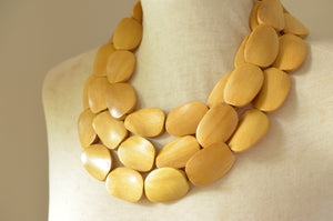 Wood Statement Necklace Beaded Yellow Necklace Gifts For Her - Miranda