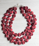 Red Matte Statement Necklace Rubber Beaded Necklace Acrylic Matte Multi Strand - Charlotte