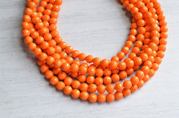 Orange Statement Necklace Beaded Acrylic Necklace Lucite Multi Strand Necklace Gifts For Her - Angelina