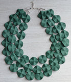Green Statement Necklace Rubber Beaded Necklace Acrylic Multi Strand Gifts For Mom - Charlotte