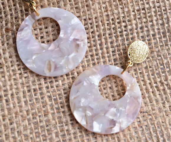 White Statement Earrings Large Resin Earrings Big Hoop Earrings Gift For Women - Grace