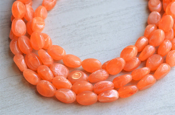 Orange Beaded Necklace Lucite Statement Necklace Chunky Multi Strand Necklace- Lauren