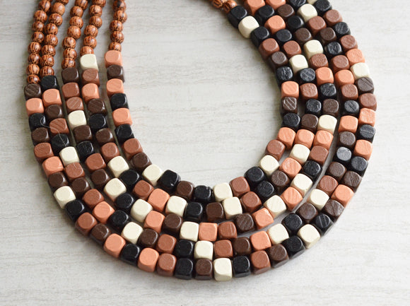 Brown Black Wood Statement Necklace Chunky Wooden Necklace - Cubist