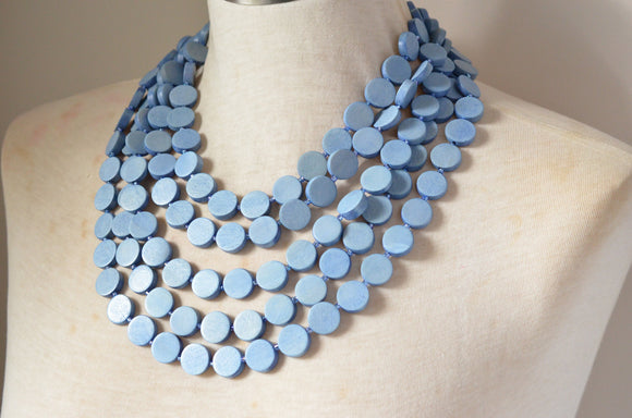 Blue Statement Necklace, Wood Bead Necklace, Wooden Necklace, Chunky Necklace, Gift For Woman - Charlotte
