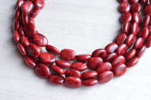 Garnet Red Statement Necklace Lucite Multi Strand Necklace Chunky Acrylic Necklace Gifts For Women - Lauren