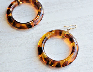 Tortoise Shell Statement Earrings Acrylic Resin Earrings Gifts For Her - Mollyrose