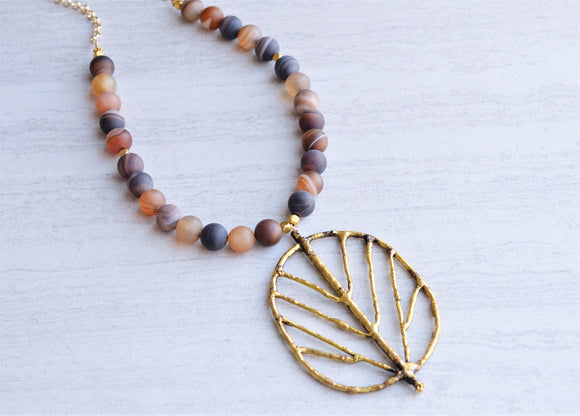 Brown Statement Necklace, Long Necklace, Leaf Pendant Necklace, Agate Necklace,  Boho Jewelry  - Arborist