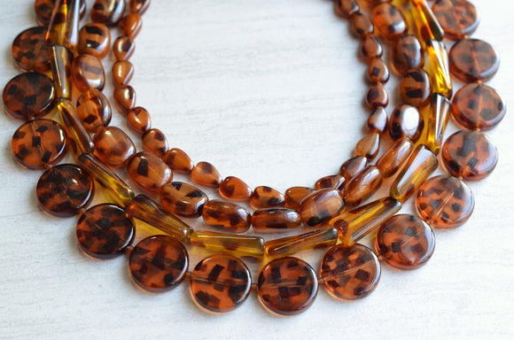 Tortoise Shell Statement Necklace Beaded Acrylic Necklace Lucite Chunky Necklace - Warhol