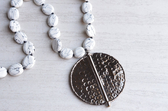 White Statement Necklace, Knotted Necklace, Stone Necklace, Long Bead Necklace, Gunmetal Pendant Necklace, Gift For Her - Jessie
