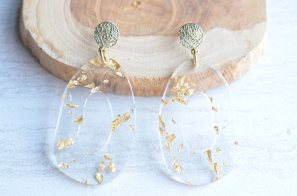 Clear Gold Statement Earrings Lucite Big Bold Earrings Acrylic Large Earrings - Sylvia