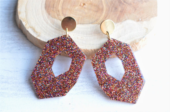 Rainbow Glitter Statement Earrings Big Lucite Earrings Large Acrylic Earrings Gifts For Her - Deanne