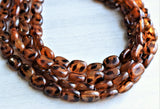 Tortoise Shell Statement Necklace Lucite Beaded Necklace Chunky Multi Strand Necklace - Lauren