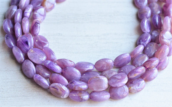 Purple Statement Necklace Lucite Beaded Necklace Chunky Multi Strand Necklace Gifts For Her - Lauren